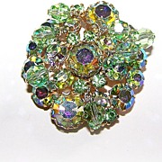 Unique Peridot Green Rhinestone & Dangling Faceted Crystal Brooch