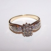 SALE 10 K Gold Diamond Promise Engagement  Promise Ring Ladies Size 7