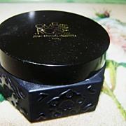 Vintage Black Glass Creme / Cream Pot / Jar Ombre Rose Paris Jean-Charles Brousseau