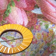 Test Positive Carved Butterscotch Bakelite Pin / Brooch