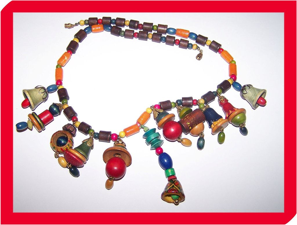 Colorful Unique  Vintage Glass & Wood Bead / Bell Necklace