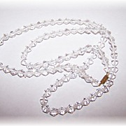 "26"" Long Faceted Crystal Bead  Necklace Very Clear & Brilliant"