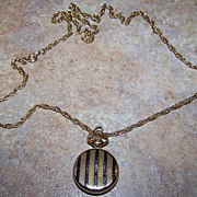 Swank Pocket Watch Locket Style Pendant Watch Necklace Requires Battery