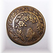 Vintage Metal Star Flower and Butterfly Button