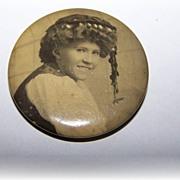 Sentimental Sepia Celluloid Pinback Portrait Pin Gypsy Girl Style