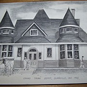 """Pencil Ink Drawing Titled """" Grand Trunk Depot Dunnville Ont 1905 """""""