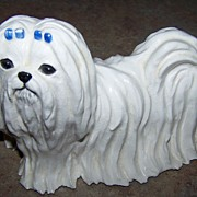SALE SKS Originals Ceramic Maltese Dog Figurine C. 1974