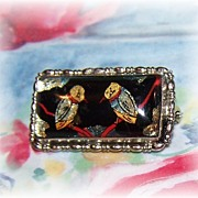 Pretty Vintage Foil Brooch Featuring Birds