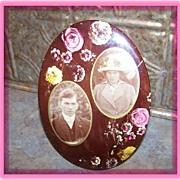 Sentimental Celluloid Easel Back Photograph Floral & Wedding