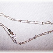 Signed 925 Delicate Sterling Silver Ball Bead Necklace 19""