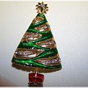 Christopher Radko Signed Christmas Tree Brooch / Pin