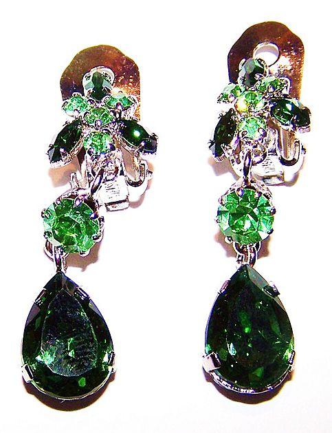 Green & Uranium Crystal Rhinestone Dangle Earrings Austria