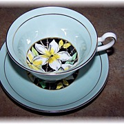 Artist Signed Rosina Bone China Teacup & Saucer Floral Motif
