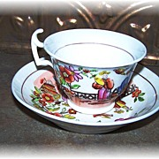 19th C Soft Paste Porcelain Oriental Motif Tea Cup & Saucer