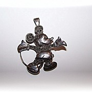 SALE Sterling Silver 925 Mickey Mouse Marcasite Brooch / Pendant