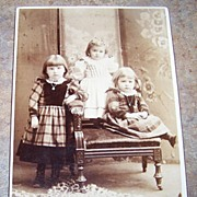 Vintage Sepia Cabinet Card  Photograph Charming Little Children Sisters