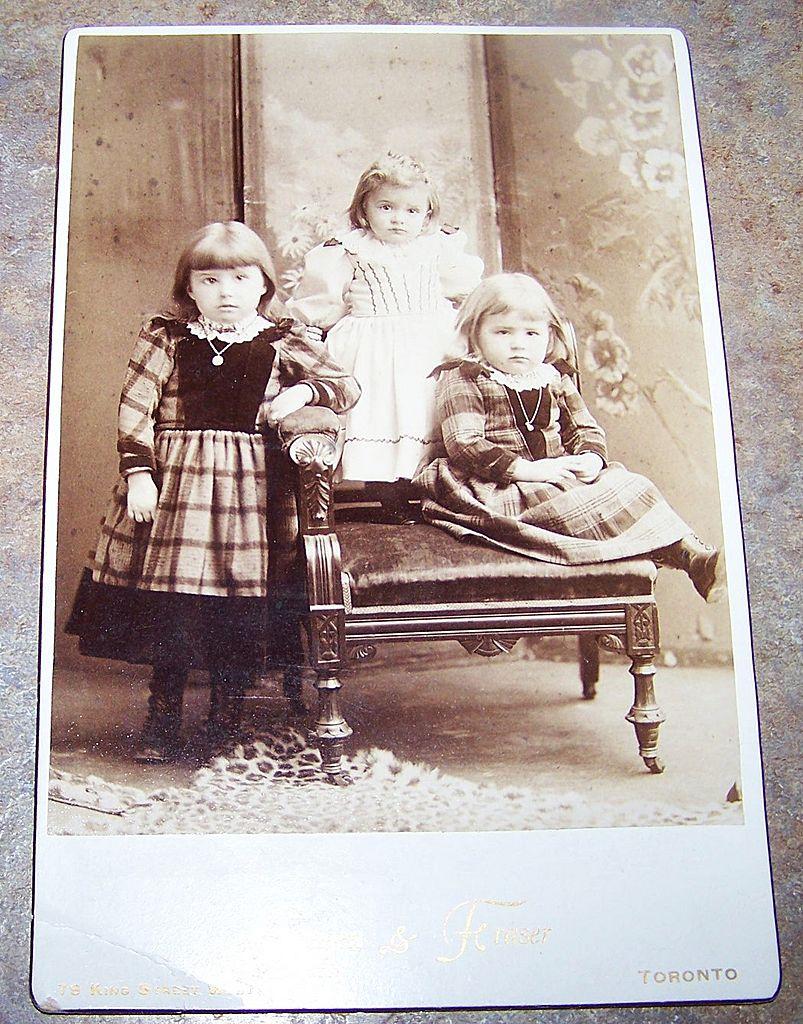 Vintage Sepia Cabinet Card  Photograph Charming Little Children Sisters