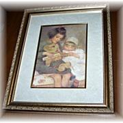 """Vintage Framed Print Titled """" Teddy """""""