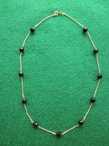 Fine 14K YG Chain Necklace With Jet Beads Choker Style