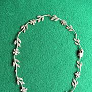 """Vintage Sterling & Marcasite Floral Necklace 16"""""""