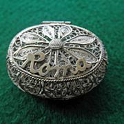 """800 Silver Filigree Box """"ROMA"""""""