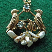 Vintage 14K Bird Pendant/Brooch With Freshwater Pearls & Aquamarine On 14K Chain