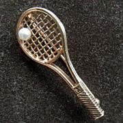 Cute 14K Tennis Racket Brooch/Pin