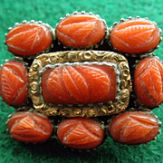 Antique Georgian Brooch 12K Carved Coral