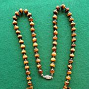 """Vintage Tiger Eye Necklace 25"""""""