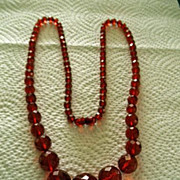 """Gorgeous Cherry Amber Bakelite Faceted Necklace 28"""""""