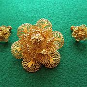 Vintage Vermeil Filigree Brooch & Earrings