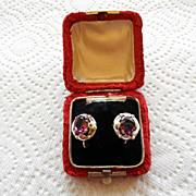 Victorian Sterling & Amethyst Earrings Original Box