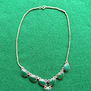 Vintage Sterling Chrysoprase Necklace