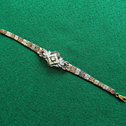 Pretty Sterling Bracelet With Paste