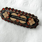 Karlsbad Pietra Dura Brooch/Pin With Garnets