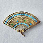 Gilt 800 Silver Chinese Enamel Fan Pin/Brooch