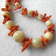 """Pretty Coral & Stone Necklace 22"""""""