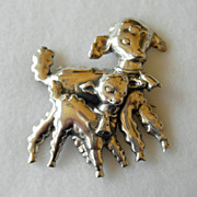 Vintage Sterling Two Little Lambs Brooch/Pin