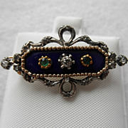 Edwardian 18K & Silver Brooch Diamonds Emeralds & Enamel