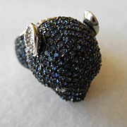 Sterling Crystal Pave Bear or Panther Head Ring