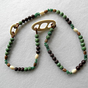 Asian or African Bone, Jade & Beads Necklace