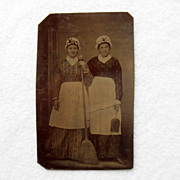 Occupational Sixth Plate Tintype of Two Maids