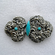 Victorian Silvertone Belt Buckle With Turquoise Colored Stones