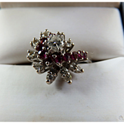 14k WG Diamond & Ruby Spiral Ring