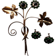 Vintage Sterling Leaf Brooch & Earrings Green Paste