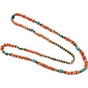 14K Coral & Turquoise Necklace