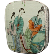 Early 20thC Chinese Porcelain & Silver Over Copper Box