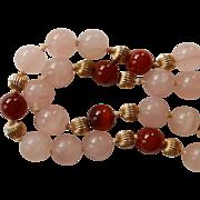 14K Rose Quartz & Carnelian Necklace