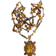 Victorian Costume Necklace With Citrine Glass