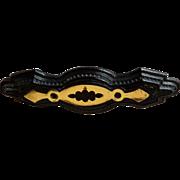Victorian Gutta Percha & Silver Mourning Pin
